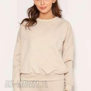 luźna bluza z geometrycznymi cięciami blu148 beż, bluza
