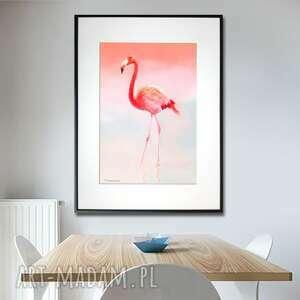 grafika w ramie flaming różowy 30x40