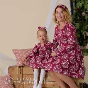 sukienki komplet świątecznych sukienek dla mamy i córki, święteczne
