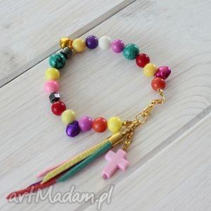 Boho kolorowa bransoletka krzyżyk, chwost, kolorowa, boho, dzwonki
