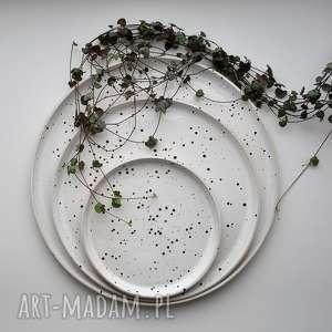zestaw talerzy 3 szt - biało czarne nakrapiane, ceramika, talerz, talerze, plate