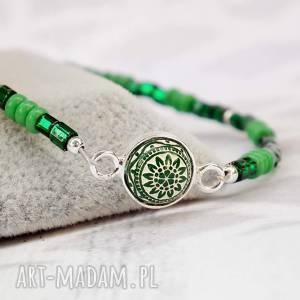 Zielona minimalistyczna bransoletka srebro i szkło z mozaiką, srebrna, srebro, 925