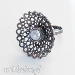 a431 koronkowy pierścionek z perłą - pierścionek, koronka, srebrny