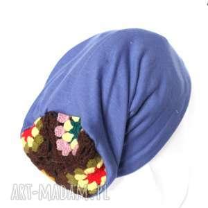 czapka dzianinowa niebieska z motywem ludowym, czapka, długa, smerfetka, dzianina