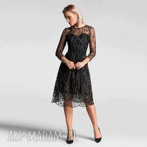 sukienka aida midi leokadia podkład czarny, koronka, elegancka