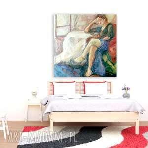 Duży obraz olejny, ręcznie malowany, kobieta na płótnie, malarstwo olejne