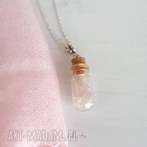 ręcznie wykonane naszyjniki naszyjnik - kwarc różowy szklana fiolka