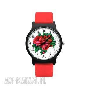zegarek z silikonowym paskiem róża, kwiatowy, kolorowy, bukiet, prezent