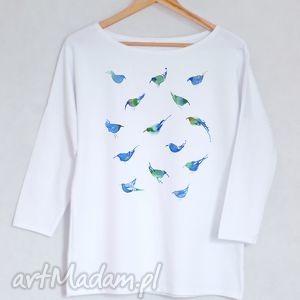 ptaki bluzka bawełniana oversize l/xl biała, bluzka, koszulka, nadruk