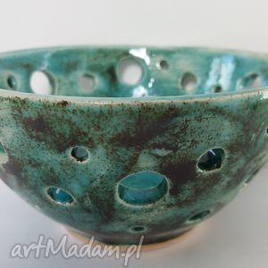handmade ceramika miseczka turkus z dziurkami