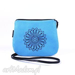 Prezent minitorebka wyszywana blue, torebka, mini, zamsz, haft, wyszywana, prezent