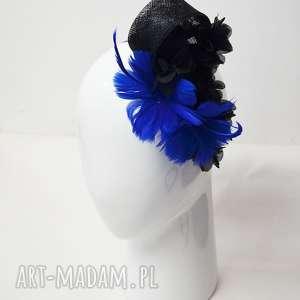 ozdoby do włosów kobaltowe kwiaty, fascynator, kobalt, niebieski, czarny