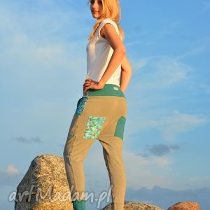 M Spodnie Pixele damskie - baggy pants, dres, wygodne, yoga, oryginalne, ciążowe