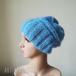 błękit czapa - czapka, rękodzieło, zima, prezent