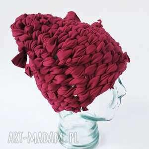dodatki czapka tkana malinowa, tkana, malina, czerwona czapka