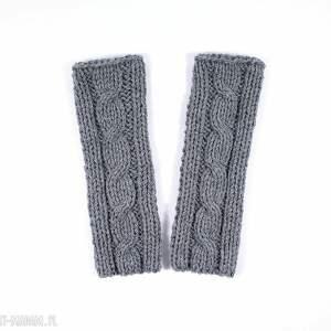 ręcznie wykonane rękawiczki mitenki szare z warkoczem