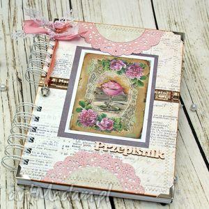Prezent przepiśnik- różana kawiarenka, książka, kucharska, prezent, notatnik