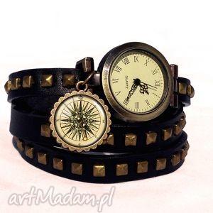 kompas - zegarek bransoletka na skórzanym pasku egginegg - rękę