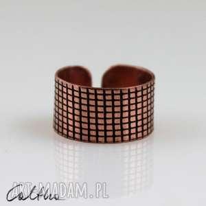 kratka - miedziany pierścionek 130620-04, pierścień, pierścionek, sygnet