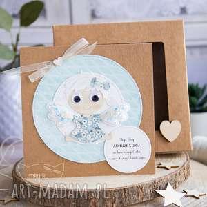 hand-made kartki kartka z aniołkiem w pudełeczku szybką. Personalizowana treść. Uroczy
