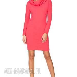 sukienki sukienka dresowa z szerokim kominem t191, koralowy, sukienka