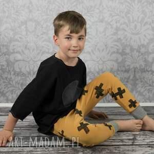 spodnie baggy krzyżyki na musztardzie, spodnie, baggy, krzyżyki, bawełna