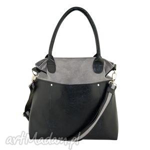 fiella - duża torba szara, shopper, wygodna, praktyczna, alcantara, eko skóra