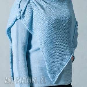 Jasnoniebieski sweter z szalem, sweter-z-szalem, sweter, szal, jasnoniebieski