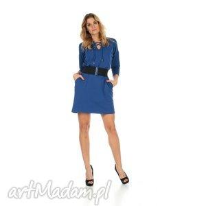 46-sukienka sznurowany dekolt,c niebieska,rękaw 3 4,pasek, lalu, sukienka, dzianina
