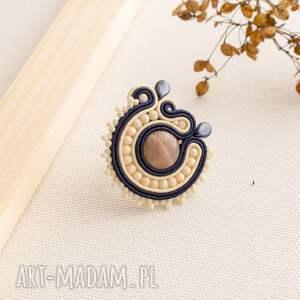 pierścionek sutasz z kamieniem słonecznym, kamieńsłoneczny, sutasz, soutache