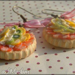 Kolczyki owocowe tarty Letni piknik , modelina, masa, termoutwardzalna, fimo, owoce