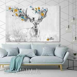 obraz drukowany na płótnie - abstrakcja-pejzaż z jeleniem wśród niebiesko -żółtych
