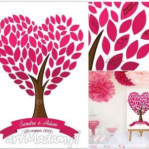 Drzewo serce wpisów gości weselnych księgi kreatywne wesele