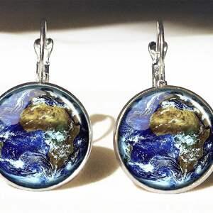 ziemia - duże kolczyki wiszące egginegg, prezent, planeta, kosmos