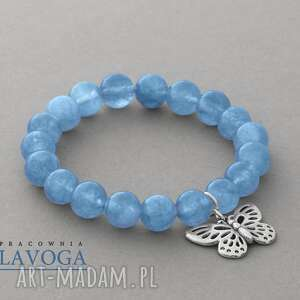 ręcznie robione bransoletki jade with butterfly pendant in blue