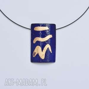 langner design wisior emaliowany złoto płatkowe, tzw szlagmetal, emalia