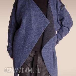 długa bluza z wełny parzonej - wełniana, parzona, dwustronna, ciepła