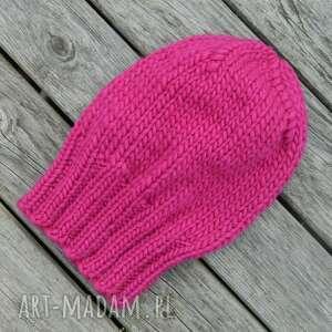 hand made czapki wełna 100% soczysty amarant klasyk ciepła zimowa czapka