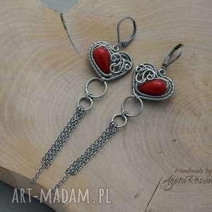 Kolczyki z czerwonym koralem w kształcie serca, stal chirurgiczna, kolczyki, koral