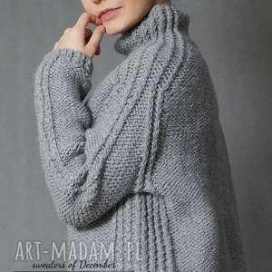 Szary sweter, dziergany, półgolf, wełniany