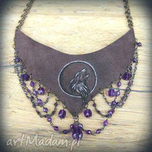 wolfpath studio miedziano-skórzany naszyjnik chainmaille z minerałami purpurowy