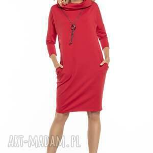 Luźna sukienka z golfem i kieszeniami, T246, czerwony, luźna, sukienka, golf