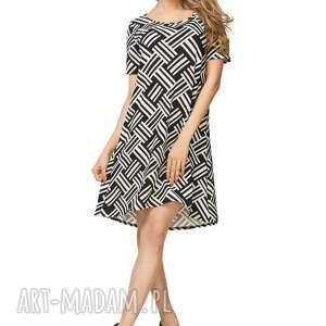 Sukienka rozkloszowana T188, biało-czarny wzór, sukienka, rozkloszowana, biało