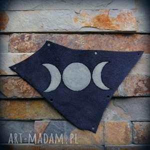 skórzana, świecąca w ciemności naszywka potrójny księżyc, pełnia, potrójny
