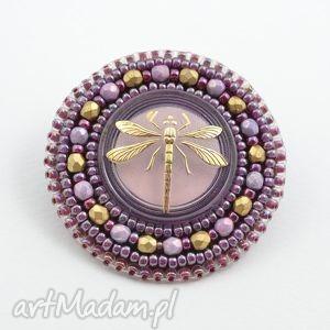 Shiny buttons::dragonfly broszki made by magda ważka, wyszywana