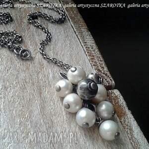 hand-made naszyjniki w perłowym gronie naszyjnik z naturalnych pereł i srebra