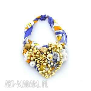 SHINEnaszyjnik handmade, naszyjnik, kolorowy, złoty, koraliki