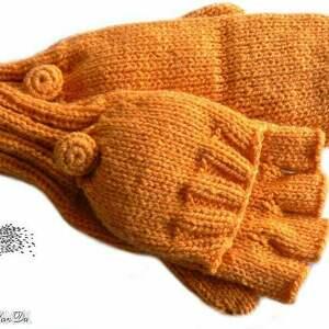 bezpalczatki z klapką 2 - rękawiczki, klapka, mitenki, druty