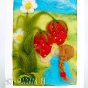dziewczynka w niebieskiej sukience obraz z kolekcji die, dekoracja, truskawka