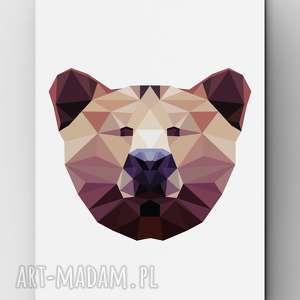 niedźwiadek, niedźwiedź, plakat, dom, miś, wnętrze, lowpoly